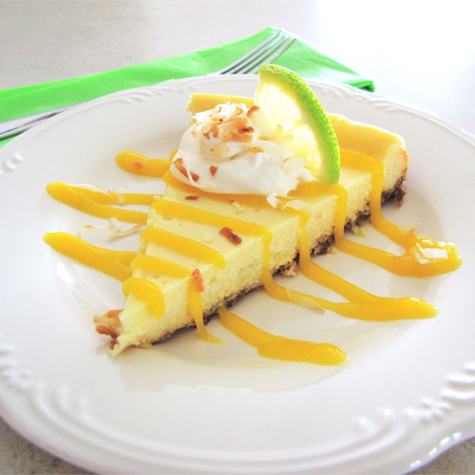 Coconut Lime Cheesecake with Mango Coulis